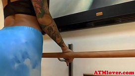 Inked babe gaping ass and drilling it deeply