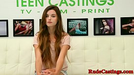 Hardfucked teen facialized at b. casting