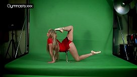 Red Dressed Gymnast Doing...