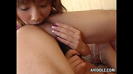 Asian whore eats his ass and sucks his donger