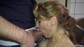Blonde wife sucks off...