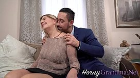 Granny rides hard cock and gives head