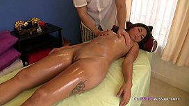 Asian babe oiled down...