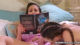 Gia Derza eating her stepmoms wet pussy and drips pussy juices as she licks her milf cunt
