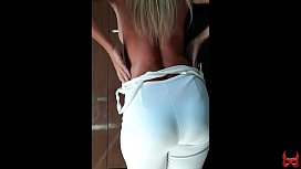 hot blonde showing her ass and pussy in erotic dance
