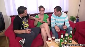 Threesome with mature boozed...