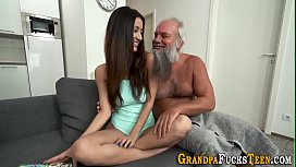 Teen banged by old gramps