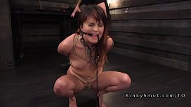 Gagged slave in rope...