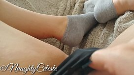 4K fingering my hairy pussy in different socks and intense orgasms
