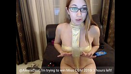 Cute alexxxcoal masturbating on...