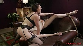 Meaty milf sitting on slave gals face