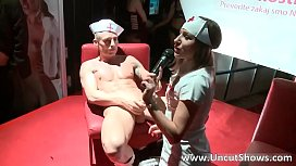 Sexy brunette nurse sucks hard cock