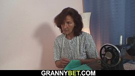 70 years old granny pleases her customer