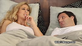Hubby watches wife fucking...