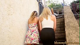 Busty stepmoms and lovely teens in les action