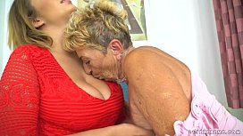 Busty granny and her...