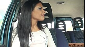 Beautiful teen babe banged by stranger dude in his car