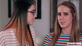 Lesbian babe scissoring with roommate