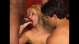 Blonde MILF Amanda Bourbom plays with dude'_s cock while he gets banged by a hunk