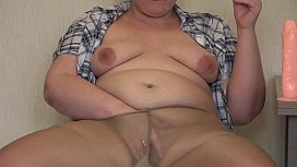 Chubby in nylon pantyhose smoked, masturbated and fucked her hairy pussy. Amateur fetish.