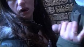 Amateurs outdoor blowjob and...