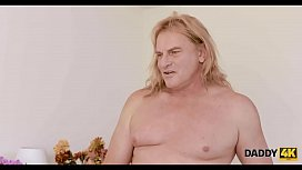 DADDY4K. Blonde angelface shows her passion in bed with grooms dad