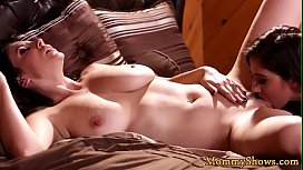 Glam stepmom pussylicked by les stepdaughter