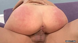 A fat dick is ravaging the blonde bitch and cums on her ass