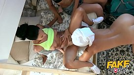 Fake Hostel – Lesbian landlady loves the aroma of Teen travellers honey pots threesome with two teen girls and a mature woman with nice big natural tits giving the young girls orgasms after smelling and licking their sweet pussies