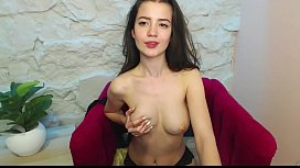 cam girl touches her tits