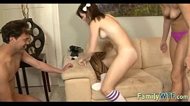 Husband and wife fuck the babysitter 375