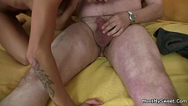 She rides her BF dad'_s cock