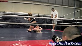 Euro dykes wrestle while...