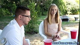 Teen rides and gets cum