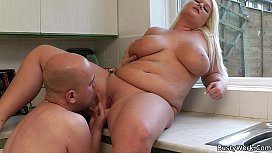 Blonde fatty rides boss...