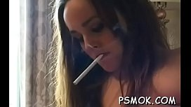 Elegant chick with great gazoo fingering her wet pussy