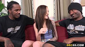 Interracial Threesome with petite...