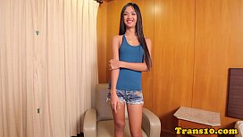 Ladyboy beauty doggystyled in...