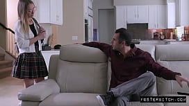 Teen bribes foster parents with her young tight pussy