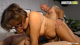 AMATEUR EURO - German Mature K&auml_the First Time Takes Two Cocks On Cam