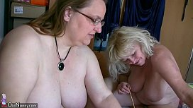 OldNanny Mature with big boobs masturbate with chubby Granny together xnxx image