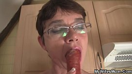 Hairy old mother-inlaw sucks and rides his big cock