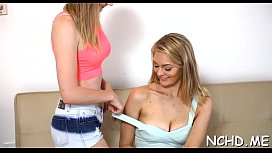 Lovely looking nubile gets gangbanged in front of a camera
