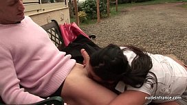 Huge boobed BBW fucked hard outdoor in french countryside