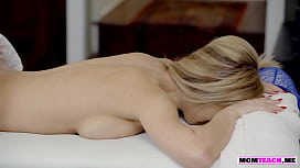 Busty stepmom gets massaged by her stepson and fucked