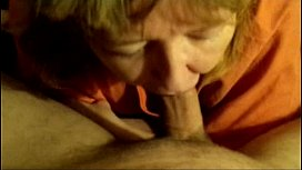 mother eats the well deserved cum from her sons cock