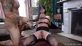 Dude fucks brunette and redhead in bdsm