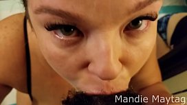Mandie Maytag Gives a Constant Eye Contact, Long Tongue, Deepthroat Gagging Blowjob on a Thick 9&quot_ BBC. Hot Facial Ending.