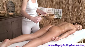 Classy babe and lez masseuse rubbing pussies