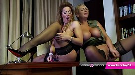 Office lesbians Lynda Leigh & Leigh Darby in lingerie and heels